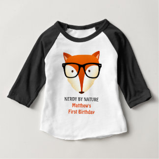 Baby First Birthday Nerd Fox Cute and Funny Baby T-Shirt