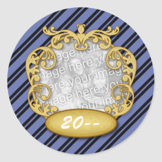 Baby First Christmas Blue Black Stripes Stickers