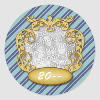 Baby First Christmas Blue Teal Stripes Round Stickers