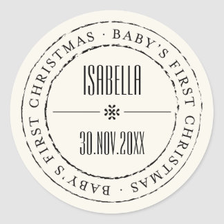 Baby First Christmas Circle Seal Holiday Sticker