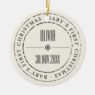 Baby First Christmas Circle Seal Photo Ornament