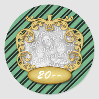 Baby First Christmas Green Black Stripes Stickers