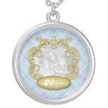 Baby First Christmas Light Blue Plaid Custom Necklace