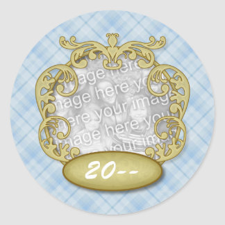 Baby First Christmas Light Blue Plaid Stickers