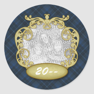 Baby First Christmas Navy Blue Plaid Round Stickers