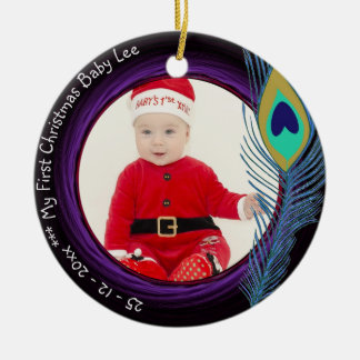 Baby First Christmas Peacock Ornament PHOTO Named