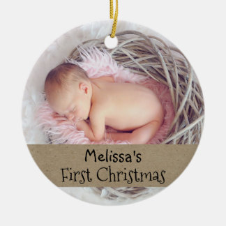 Baby First Christmas Photo Holiday Christmas Ornament