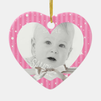 Baby First Christmas Photo in Pink Heart Shape Christmas Ornament