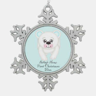 Baby First Christmas Polar Bear Blue Ornament