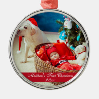 Baby First Christmas Premium Ornament Round