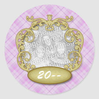 Baby First Christmas Purple Plaid Stickers