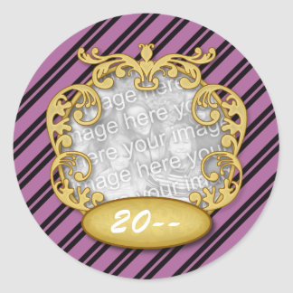 Baby First Christmas Purple White Stripes Round Stickers