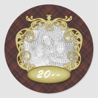Baby First Christmas Red Plaid Round Sticker