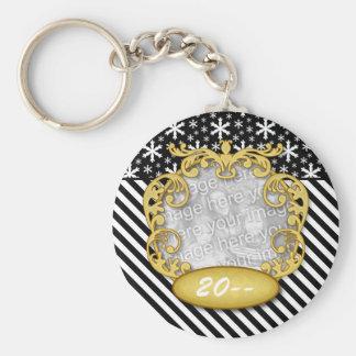 Baby First Christmas Snowflake Stripe Black White Basic Round Button Key Ring