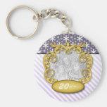 Baby First Christmas Snowflake Stripe Purples Basic Round Button Key Ring