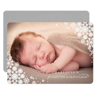 Baby First Christmas Winter Snowflakes Photo Card