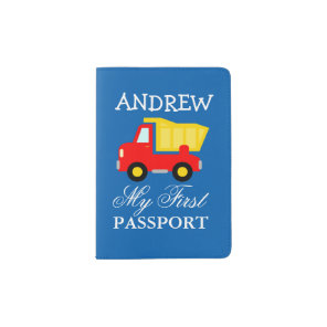 Baby first passport holder with cute dump truck