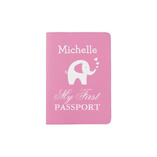 Baby first passport holder with cute elephant