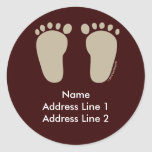 Baby Foot Prints Addres Labels Round Sticker