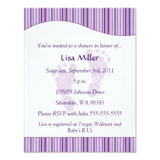 Baby Footprints Baby Shower - Purple Card