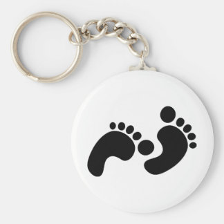 baby footprints basic round button key ring