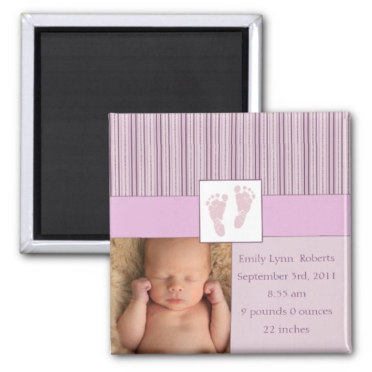Baby Footprints Birth - Pink Square Magnet
