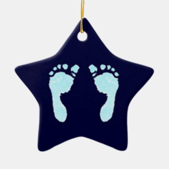Baby Footprints (Boy) Christmas Ornament