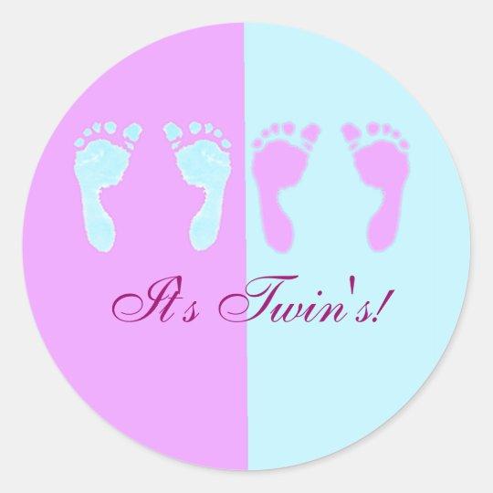 Baby Footprints (Girl/Boy Twins) Classic Round Sticker