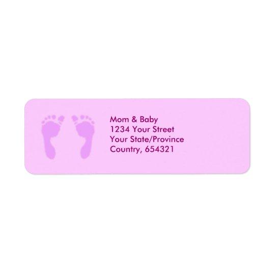 Baby Footprints (Girl) Return Address Label