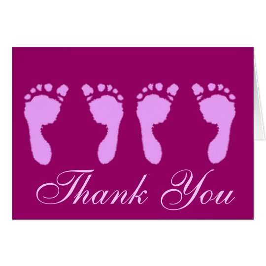Baby Footprints (Girl Twins) Card