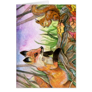 Baby Fox And Squirrel Card