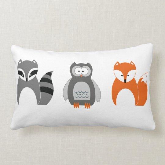 Baby Fox Owl Racoon Throw Pillow