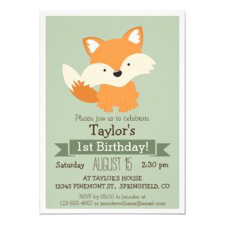 Baby Fox, Woodland Animal Kid's Birthday Party 13 Cm X 18 Cm Invitation Card