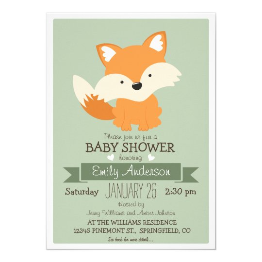 Baby Fox, Woodland Baby Shower or Sprinkle Card