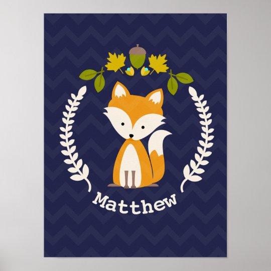 Baby Fox Wreath Personalised Nursery Artwork - Boy Poster
