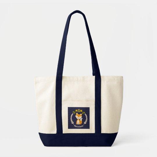 Baby Fox Wreath Personalised Tote Bag