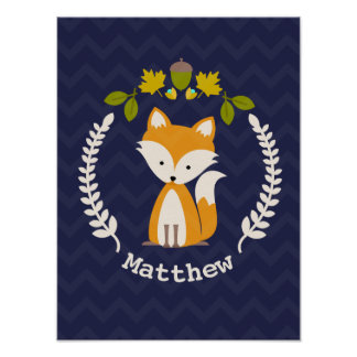 Baby Fox Wreath Personalized Nursery Artwork - Boy Poster