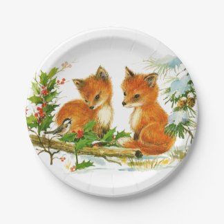 Baby Foxes in Snow Christmas Paper Plate