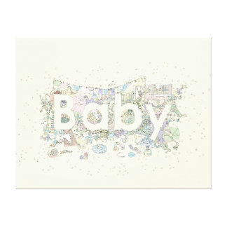 Baby Funny Colourful Word Art Design Canvas Print