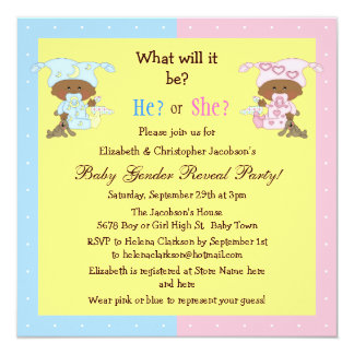 "Baby Gender Reveal African American Babies 5.25"" Square Invitation Card"