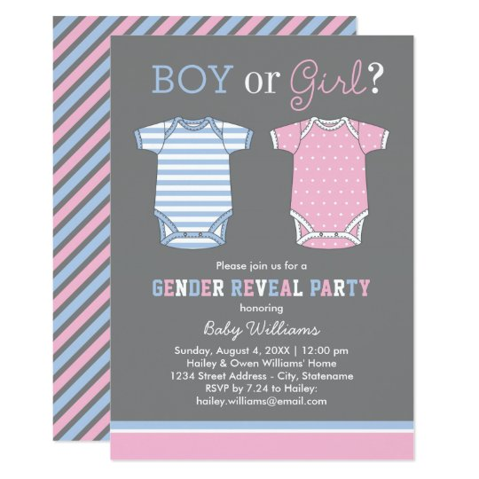Baby Gender Reveal Party Invitations | Boy or