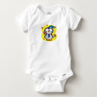 Baby Gerber Cotton bodysuit, White with penguin Baby Onesie