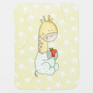 Baby Giraffe And Apple Baby Blanket