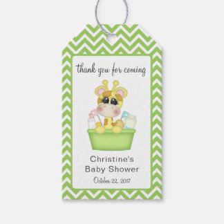 Baby Giraffe at Bath Time Thank You Favor Gift Tags