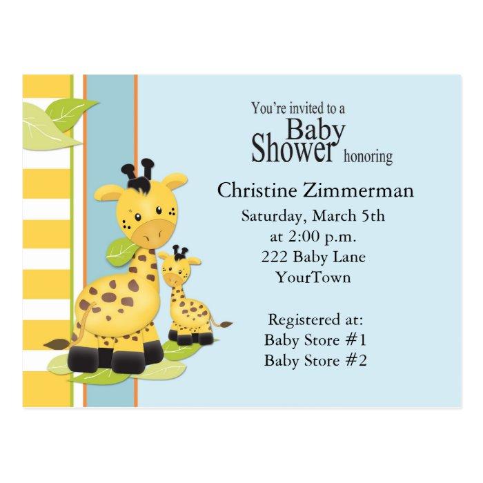 Baby Giraffe Baby Shower Invitation Postcard