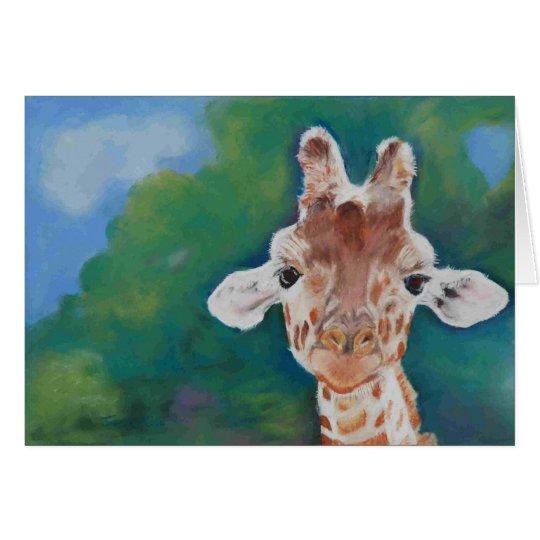 Baby giraffe blank card