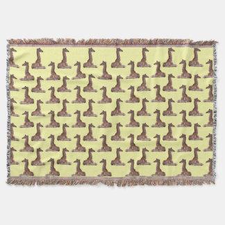 Baby Giraffe Frenzy Throw Blanket (Light Yellow)