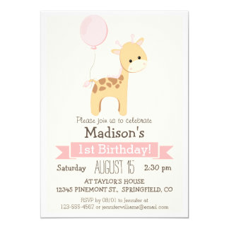 Baby Giraffe Girl's Birthday Party Invitation