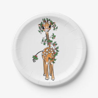 Baby Giraffe- holly garland Paper Plate
