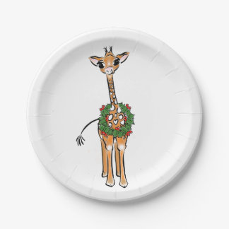 Baby Giraffe- holly wreath Paper Plate
